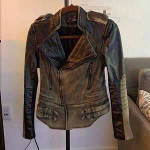 Olive and black moto jacket